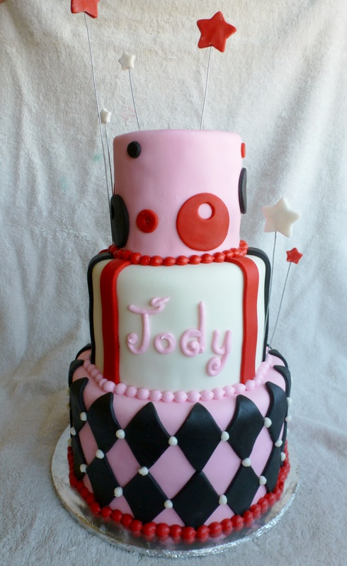 Red black pink and White Cake