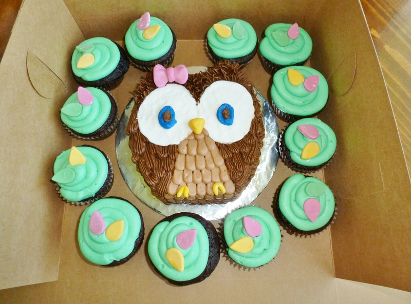 owl smash cake and cupcakes
