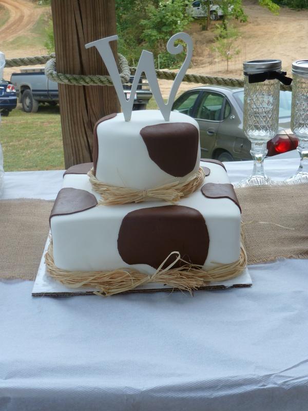 cow print cake with raffia bow